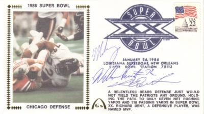 Richard Dent William Perry Mike Singletary autographed 1985 Bears Super Bowl cachet