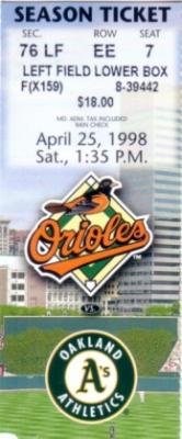 Cal Ripken Consecutive Game 2500 Baltimore Orioles 1998 ticket stub