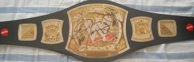 Eve Torres & The Miz autographed WWE wrestling title belt