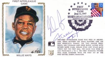 Willie Mays & Nolan Ryan autographed 1997 First Interleague Game cachet