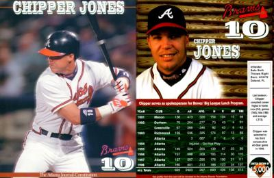 Chipper Jones 1999 Atlanta Braves Journal-Constitution 8x11 photo card