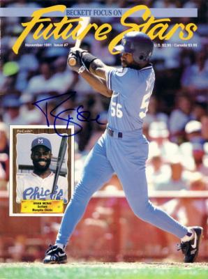 Brian McRae autographed Kansas City Royals 1991 Beckett magazine cover