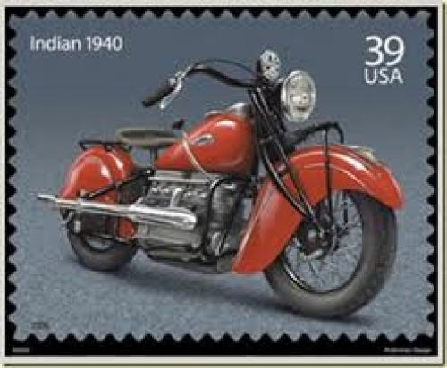 Stamps; Indian 1940. The motorcycle depicted on this stamp; Year: 1940; 39 cents