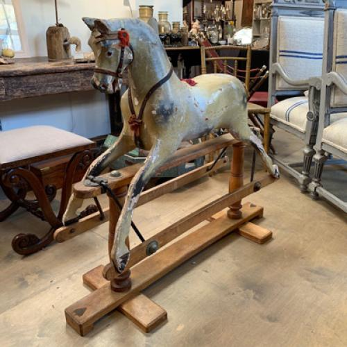 Antique Rocking Horse, Bow, Folk Art Rocking Horse at Antiquated Antiques, Petworth, Sussex, UK