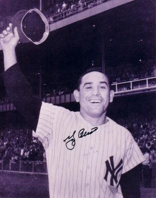 Yogi Berra autographed New York Yankees 8x10 waving cap photo