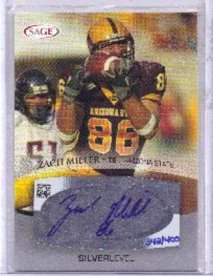 Zach Miller certified autograph Arizona State 2007 SAGE card