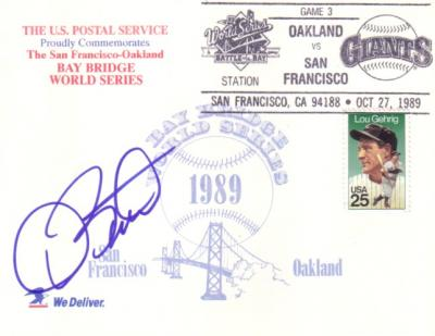 Dave Stewart autographed Oakland A&#039;s 1989 World Series postcard