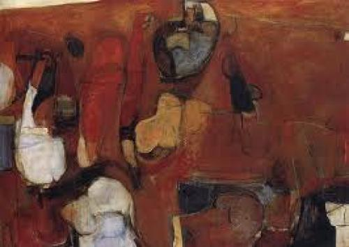 Art: Paintings; Brett Whiteley - Untitled Red Painting - 1960