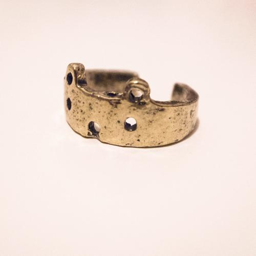 Cute Vintage Style Bronze Bear Face Ring / Cat Face Ring - Adjustable Ring