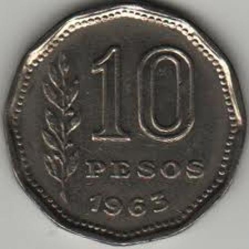Coins; Argentina 10 pesos; 1963