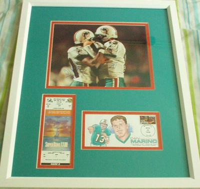 Dan Marino & O.J. McDuffie autographed 400th TD 8x10 photo framed with ticket & cachet