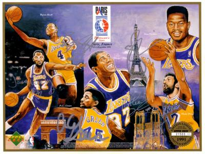 1991-92 Los Angeles Lakers autographed commemorative card sheet (Magic Johnson James Worthy)