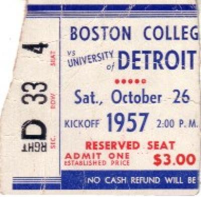 1957 Boston College at Detroit ticket stub