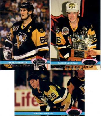 Mario Lemieux Penguins 1991-92 Stadium Club Charter Member & Members Only set (3)