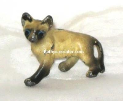 Miniature Painted Metal Siamese Cat Animal Figurine
