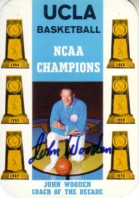 John Wooden autographed UCLA 1970-71 pocket schedule