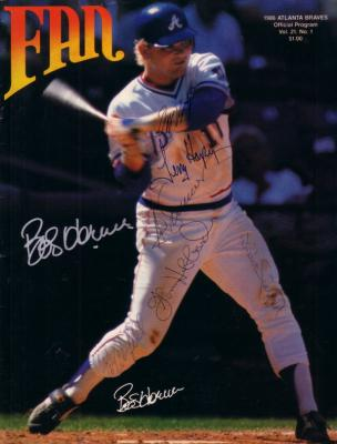 1986 Atlanta Braves autographed program Bob Horner Glenn Hubbard Ted Simmons Willie Stargell