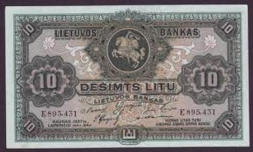 Banknotes; LITHUANIA currency 10 Litu banknote
