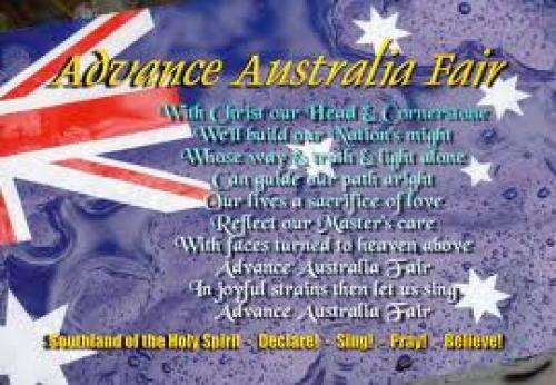 Front view of the &#039;Advance Australia Fair&#039; Postcard; THE SONG