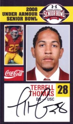Terrell Thomas autographed USC 2008 Senior Bowl card