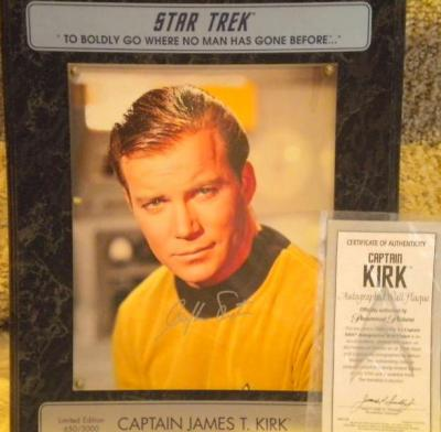 William Shatner autographed Star Trek 8x10 photo in plaque