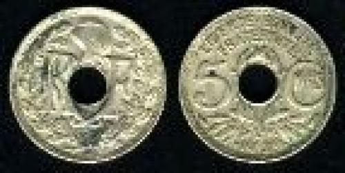 5 centimes; Year: 1938-1939; (km 875a)
