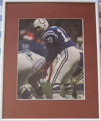 Johnny Unitas autographed Baltimore Colts 8x10 photo matted & framed