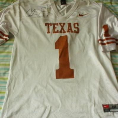 Chris Simms autographed Texas replica jersey