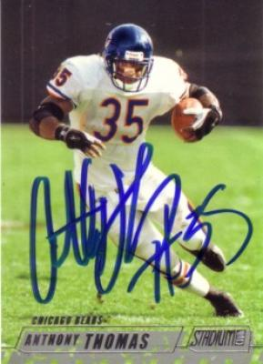 Anthony Thomas autographed Chicago Bears card
