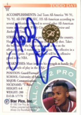 Todd Day certified autograph Arkansas 1992 Star Pics card