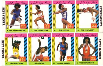 Jackie Joyner-Kersee 1990 McDonald&#039;s card set (8)