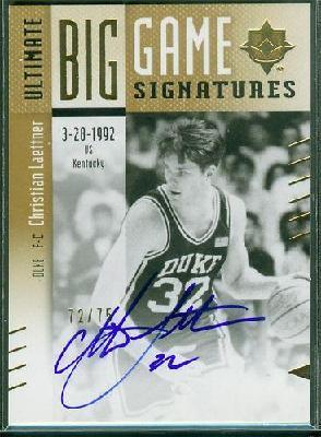 Christian Laettner Duke certified autograph 2010 Upper Deck card #11/75