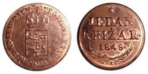 Coins; CROATIA TRIUNE KING DOM1Krizar Year:1849