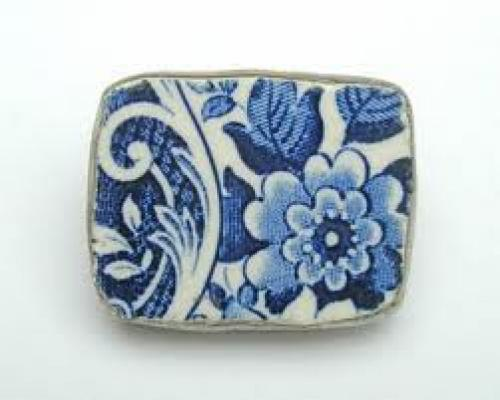 Blue and white brooch, hand cut from vintage ceramic with silver