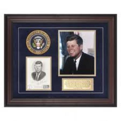 Memorabilia; John F. Kennedy First Day Cover Framed Photograph