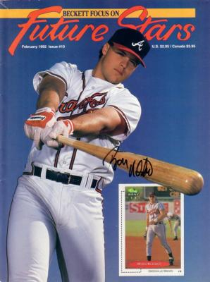 Ryan Klesko autographed 1992 Atlanta Braves Beckett magazine cover