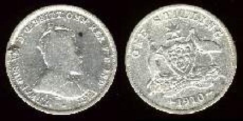 1 shilling; Year: 1910; (km 20)