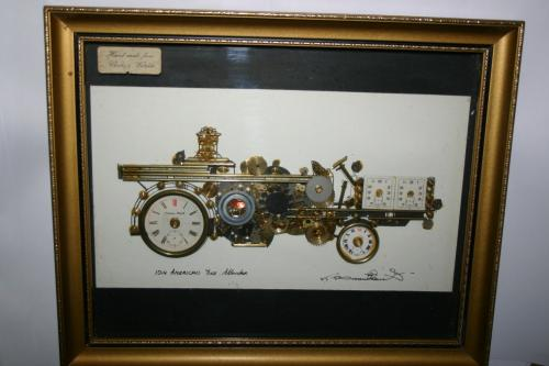 Original Artwork Made From Clocks and Watches Signed American Fire Tender