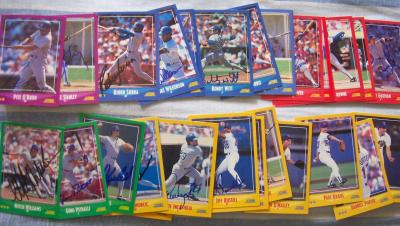 1988 Texas Rangers autographed Score team card set (Charlie Hough Ruben Sierra Mitch Williams)