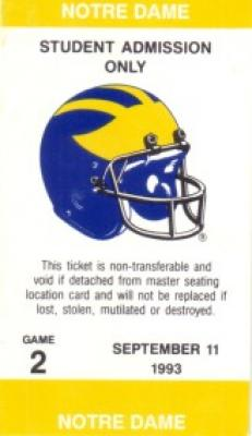 1993 Notre Dame (11-1) vs Michigan football ticket stub
