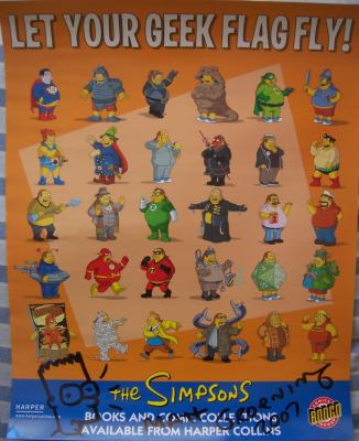 Matt Groening autographed &amp; doodled Simpsons Comic Book Guy poster