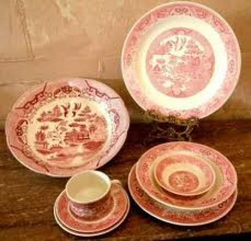 Antique Pink Willow Transferware