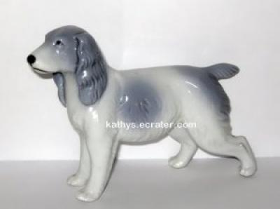 Japan Porcelain Blue Spaniel Retriever Dog Animal Figurine