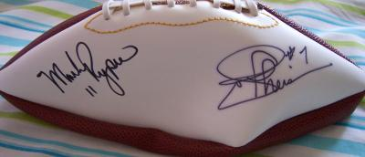 Mark Rypien & Joe Theismann autographed full size white panel football