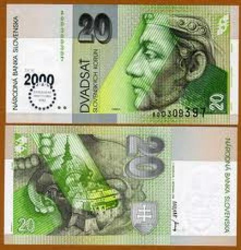 Banknotes; Slovakia 20 korun, 2000 MILLENIUM