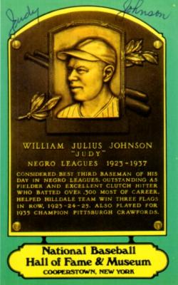 Judy Johnson autographed Hall of Fame plaque postcard