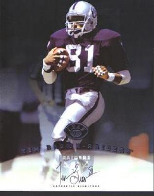 Tim Brown certified autograph Oakland Raiders 1997 Leaf 8x10 photo card