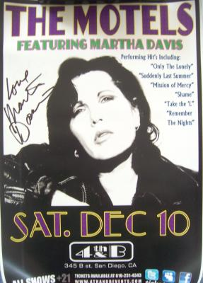 Martha Davis autographed The Motels 2011 concert poster