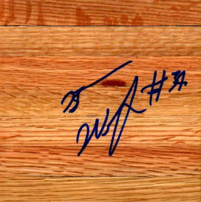 Brandan Wright (UNC) autographed basketball hardwood floor