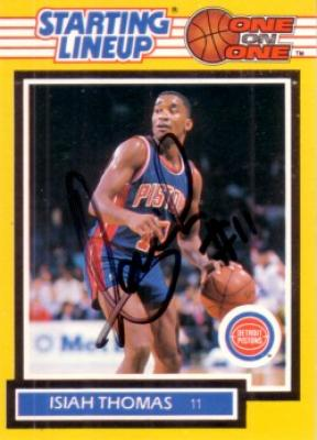 Isiah Thomas autographed Detroit Pistons 1989 Kenner Starting Lineup card